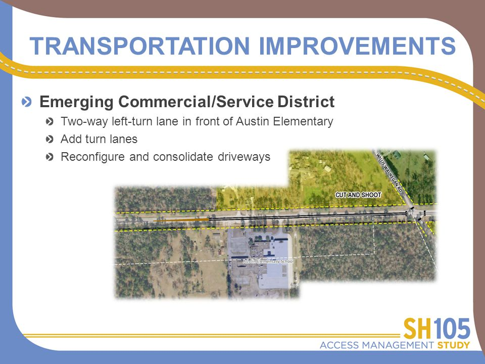 TRANSPORTATION IMPROVEMENTS Emerging Commercial/Service District Two-way left-turn lane in front of Austin Elementary Add turn lanes Reconfigure and consolidate driveways