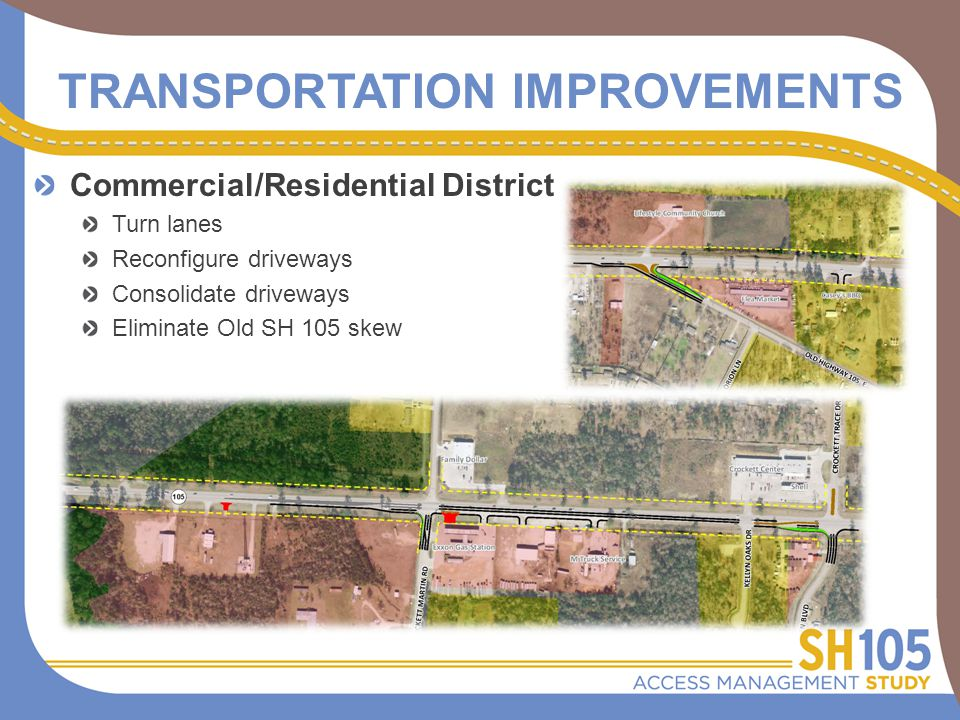 TRANSPORTATION IMPROVEMENTS Commercial/Residential District Turn lanes Reconfigure driveways Consolidate driveways Eliminate Old SH 105 skew