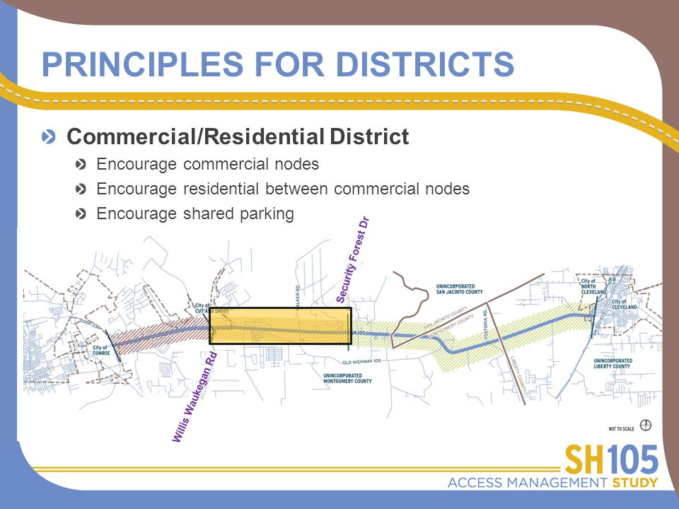 Commercial/Residential District Encourage commercial nodes Encourage residential between commercial nodes Encourage shared parking Promote set-back parking areas Limit access to SH 105 Security Forest Dr Willis Waukegan Rd PRINCIPLES FOR DISTRICTS