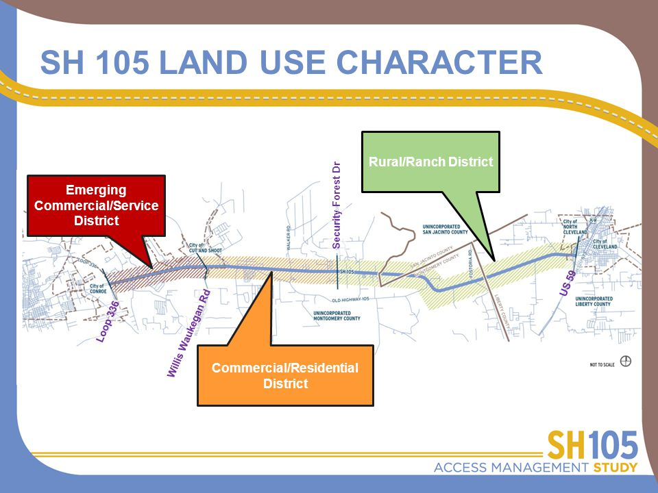 SH 105 LAND USE CHARACTER Emerging Commercial/Service District Commercial/Residential District Rural/Ranch District Willis Waukegan Rd Security Forest Dr Loop 336 US 59