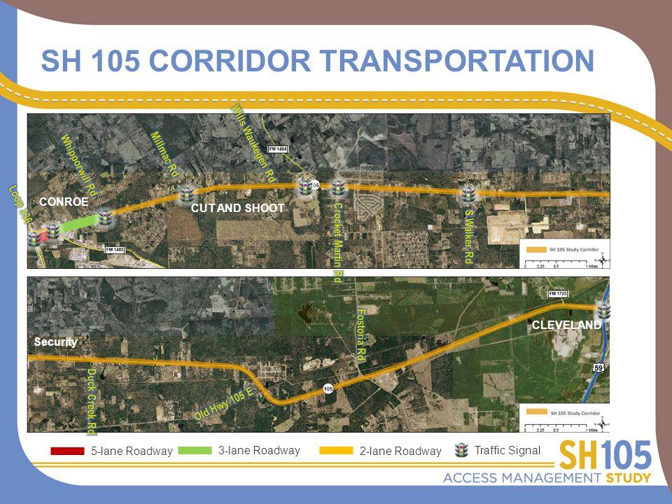 SH 105 CORRIDOR TRANSPORTATION CONROE CUT AND SHOOT Security CLEVELAND 5-lane Roadway 3-lane Roadway 2-lane Roadway Traffic Signal