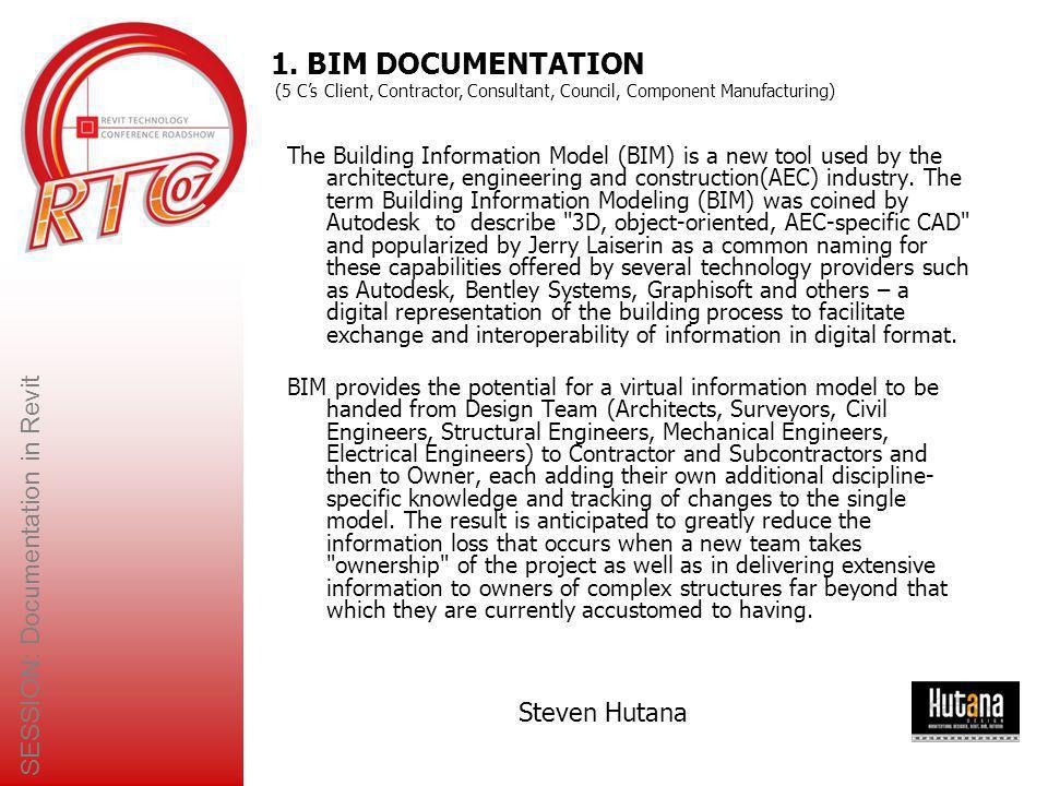 SESSION: Documentation in Revit Steven Hutana 6.