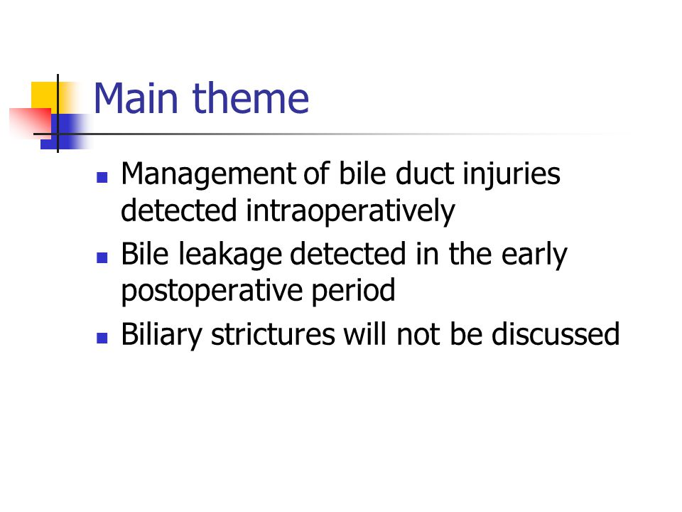 Intraoperative management In general, 75-90% of the injuries are not recognized intraoperatively Intraoperative identification of injury may occur by recognition of bile in the field, indicating a cut bile duct; by cholangiography; or rarely by direct observation of a divided duct