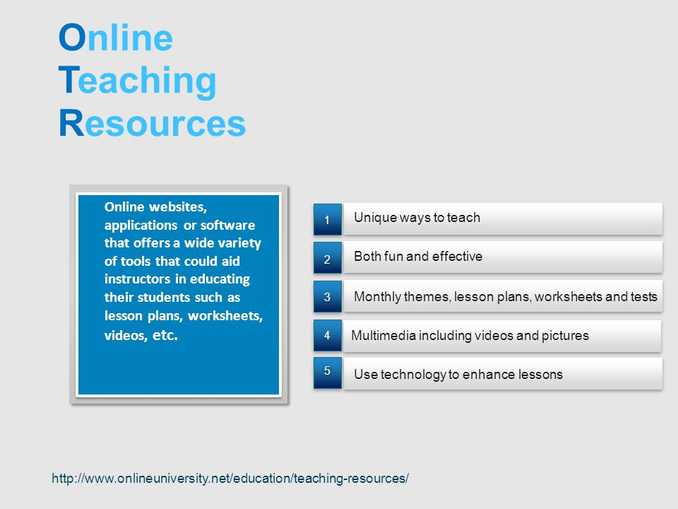 Unique ways to teach Multimedia including videos and pictures Both fun and effective Monthly themes, lesson plans, worksheets and tests Use technology to enhance lessons 55 4 4 3 3 2 2 1 1 Online websites, applications or software that offers a wide variety of tools that could aid instructors in educating their students such as lesson plans, worksheets, videos, etc.