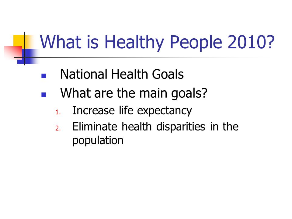 What is Healthy People 2010. National Health Goals What are the main goals.