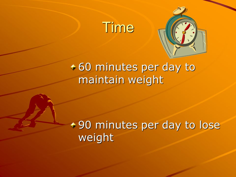 Time 60 minutes per day to maintain weight 90 minutes per day to lose weight