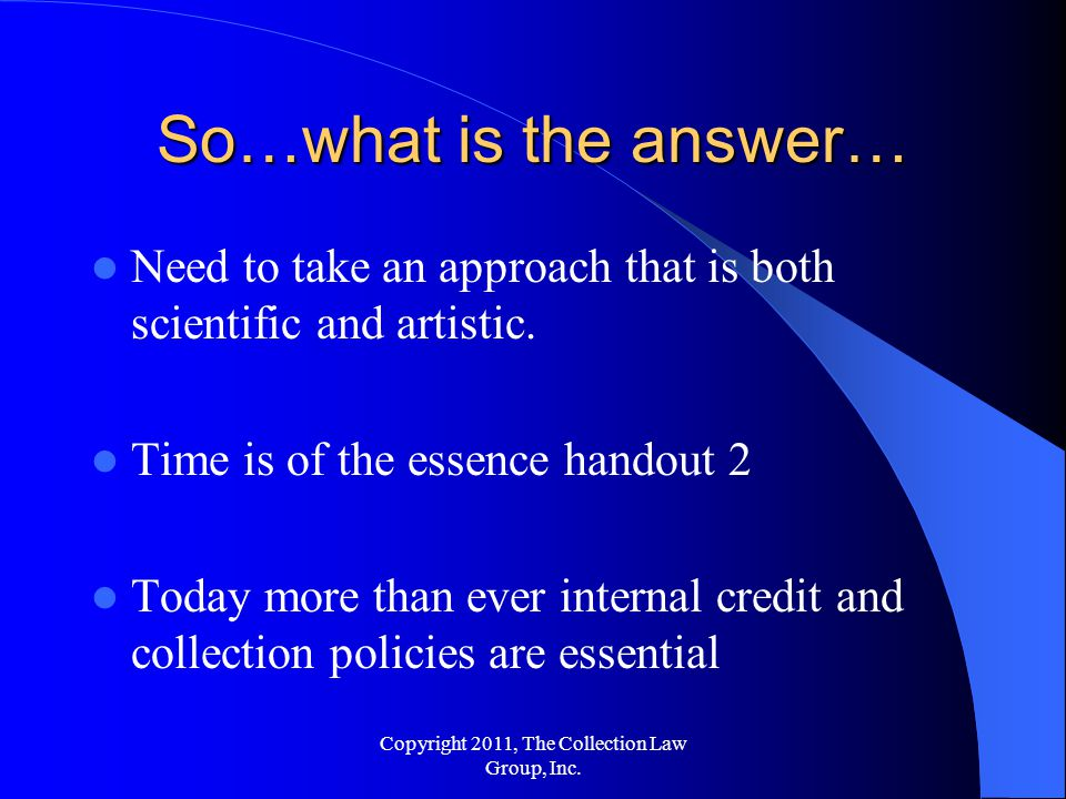 So…what is the answer… Need to take an approach that is both scientific and artistic.