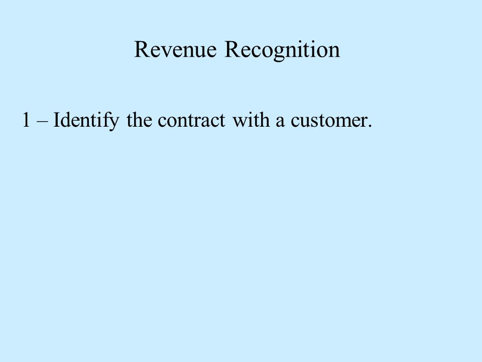 Revenue Recognition 1 – Identify the contract with a customer.