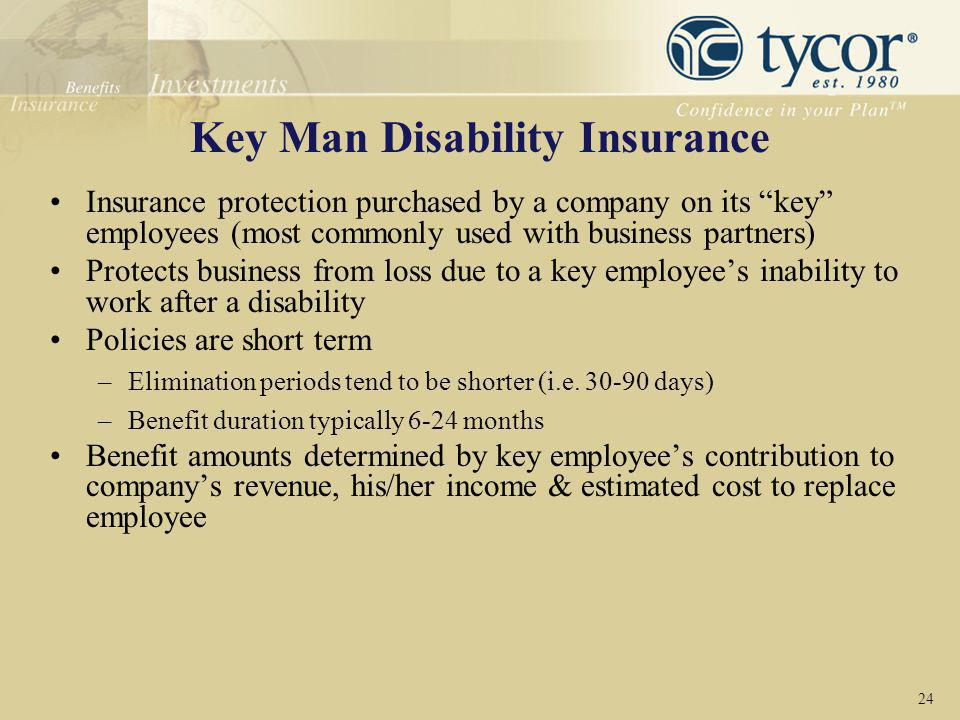 """Key Man Disability Insurance Insurance protection purchased by a company on its """"key"""" employees (most commonly used with business partners) Protects b"""