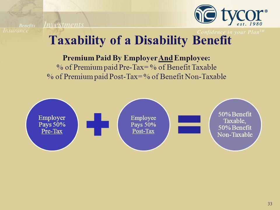 Taxability of a Disability Benefit 33 Premium Paid By Employer And Employee: % of Premium paid Pre-Tax= % of Benefit Taxable % of Premium paid Post-Ta