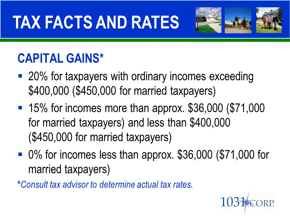 CAPITAL GAINS*  20% for taxpayers with ordinary incomes exceeding $400,000 ($450,000 for married taxpayers)  15% for incomes more than approx. $36,0