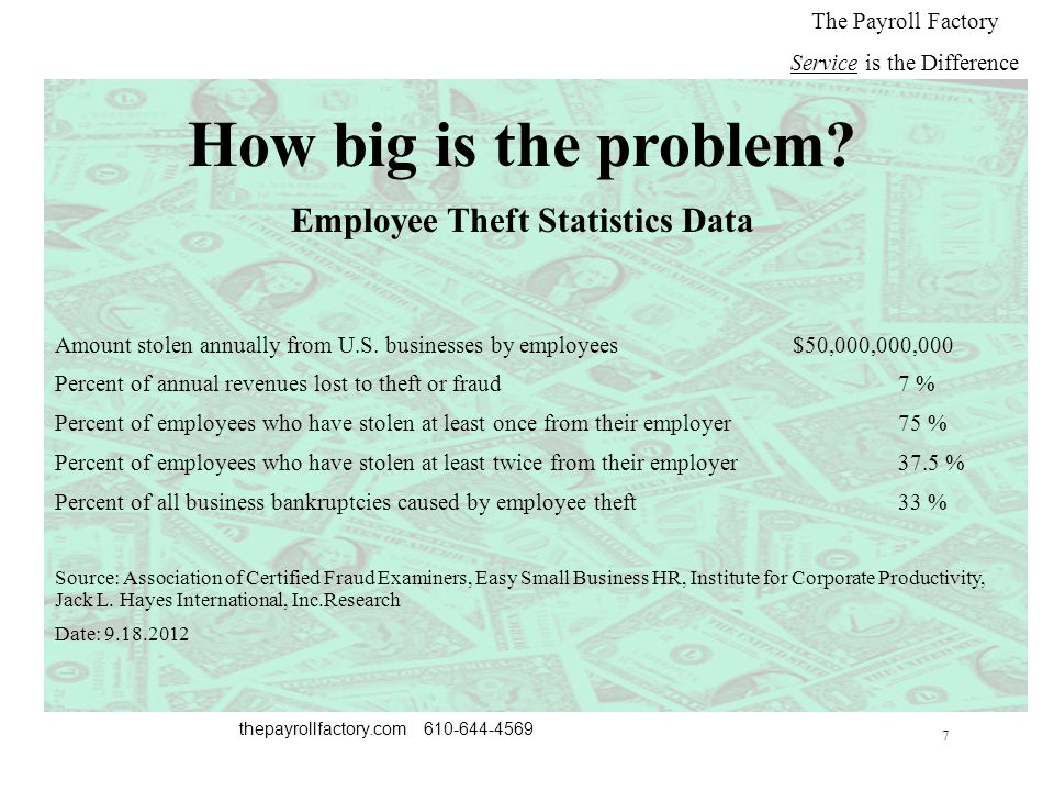 7 thepayrollfactory.com 610-644-4569 The Payroll Factory Service is the Difference How big is the problem.