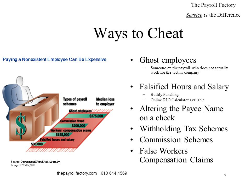9 thepayrollfactory.com 610-644-4569 Ways to Cheat Ghost employees –Someone on the payroll who does not actually work for the victim company Falsified Hours and Salary –Buddy Punching –Online RIO Calculator available Altering the Payee Name on a check Withholding Tax Schemes Commission Schemes False Workers Compensation Claims The Payroll Factory Service is the Difference Paying a Nonexistent Employee Can Be Expensive Source: Occupational Fraud And Abuse,by Joseph T Wells,2002