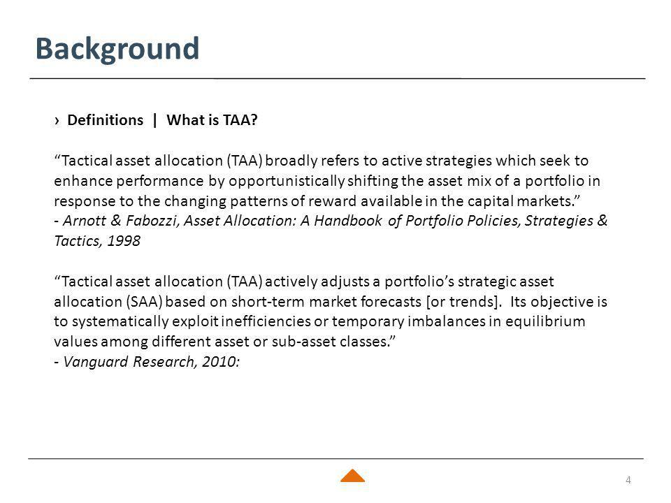 Background 5 › How is Tactical Asset Allocation (TAA) different from Strategic Asset Allocation (SAA)?