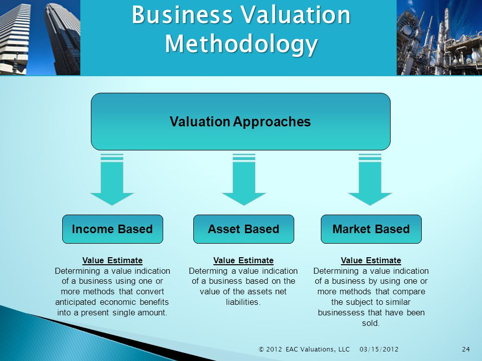 03/15/2012 © 2012 EAC Valuations, LLC24 Business Valuation Methodology Value Estimate Determining a value indication of a business using one or more methods that convert anticipated economic benefits into a present single amount.