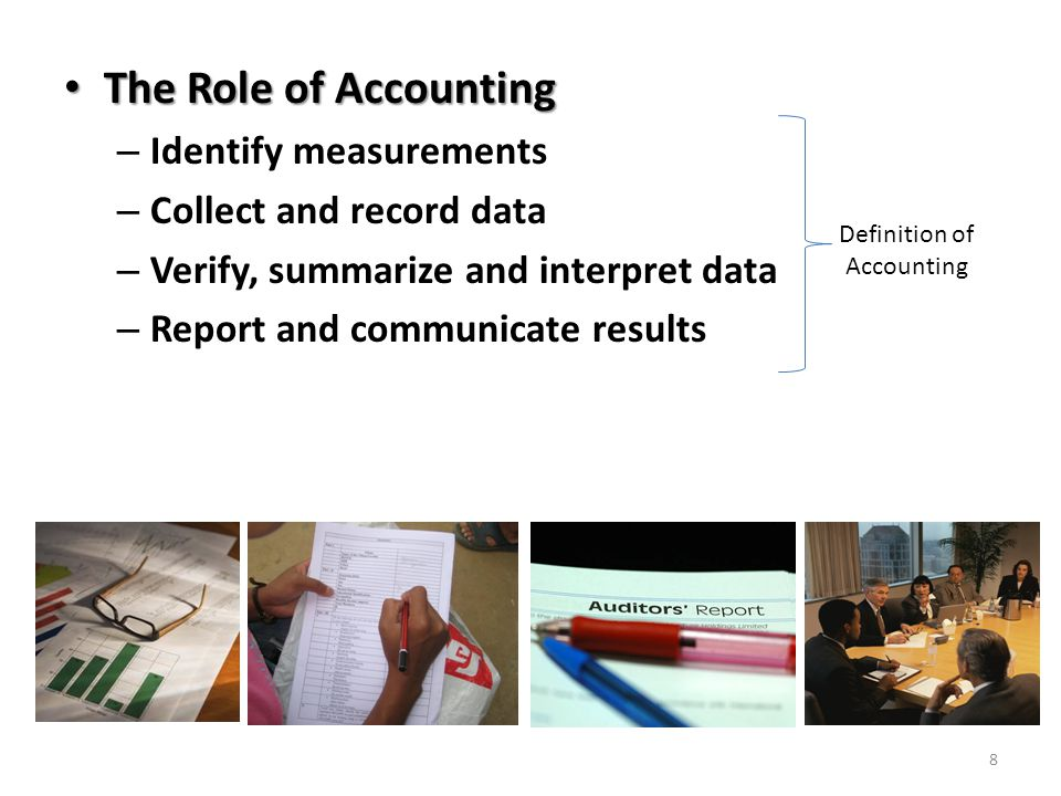 The Role of Accounting The Role of Accounting – Identify measurements – Collect and record data – Verify, summarize and interpret data – Report and co