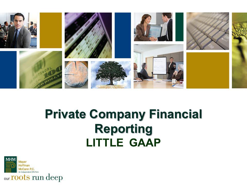 Private Company Financial Reporting Private Company Financial Reporting LITTLE GAAP