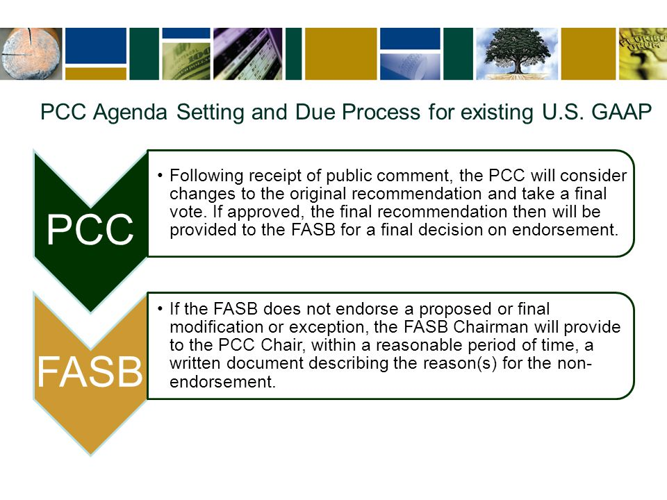 PCC Agenda Setting and Due Process for existing U.S. GAAP PCC Following receipt of public comment, the PCC will consider changes to the original recom