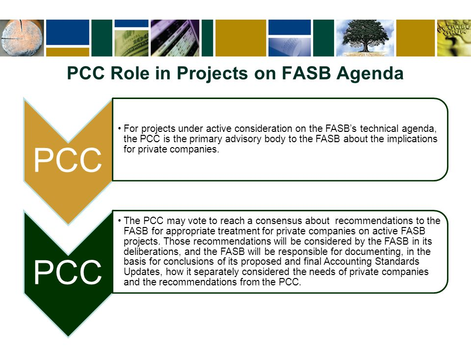 PCC Role in Projects on FASB Agenda PCC For projects under active consideration on the FASB's technical agenda, the PCC is the primary advisory body t