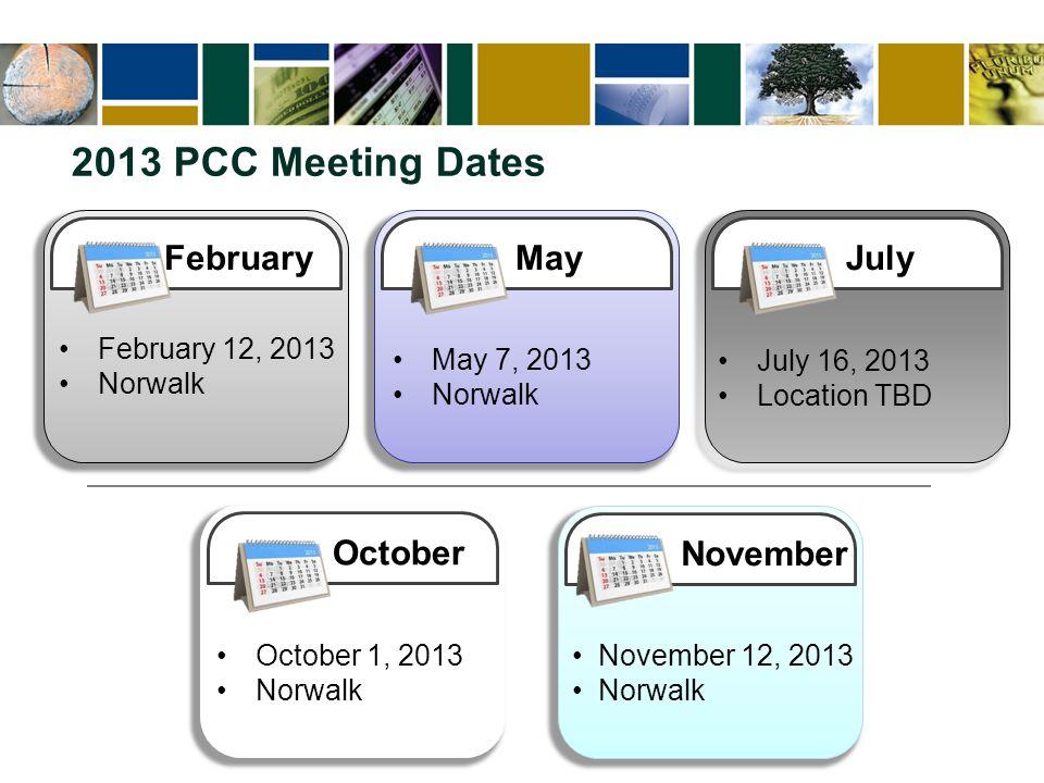 2013 PCC Meeting Dates February February 12, 2013 Norwalk MayJulyOctoberNovember May 7, 2013 Norwalk July 16, 2013 Location TBD October 1, 2013 Norwalk November 12, 2013 Norwalk