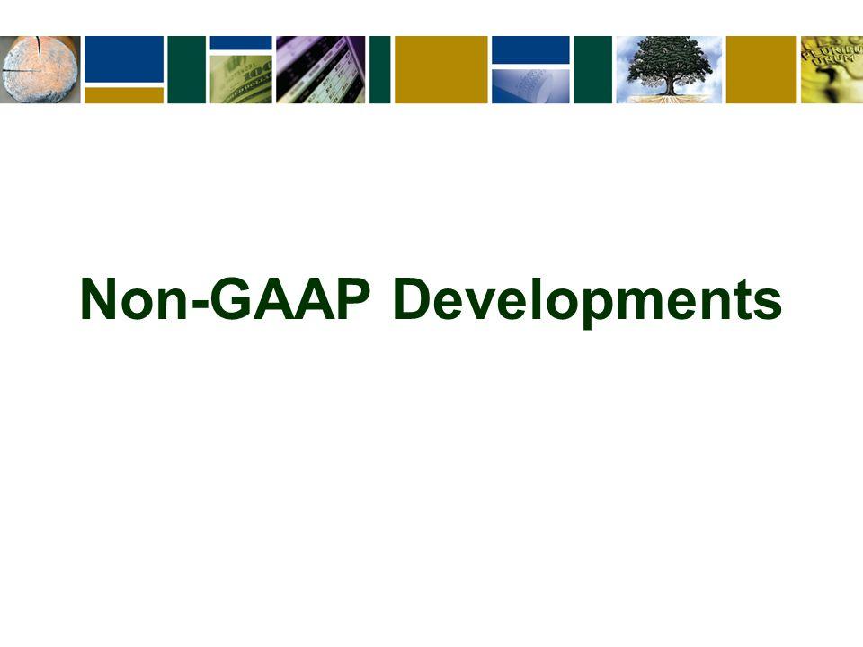 Non-GAAP Developments