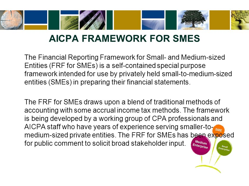 The Financial Reporting Framework for Small- and Medium-sized Entities (FRF for SMEs) is a self-contained special purpose framework intended for use b