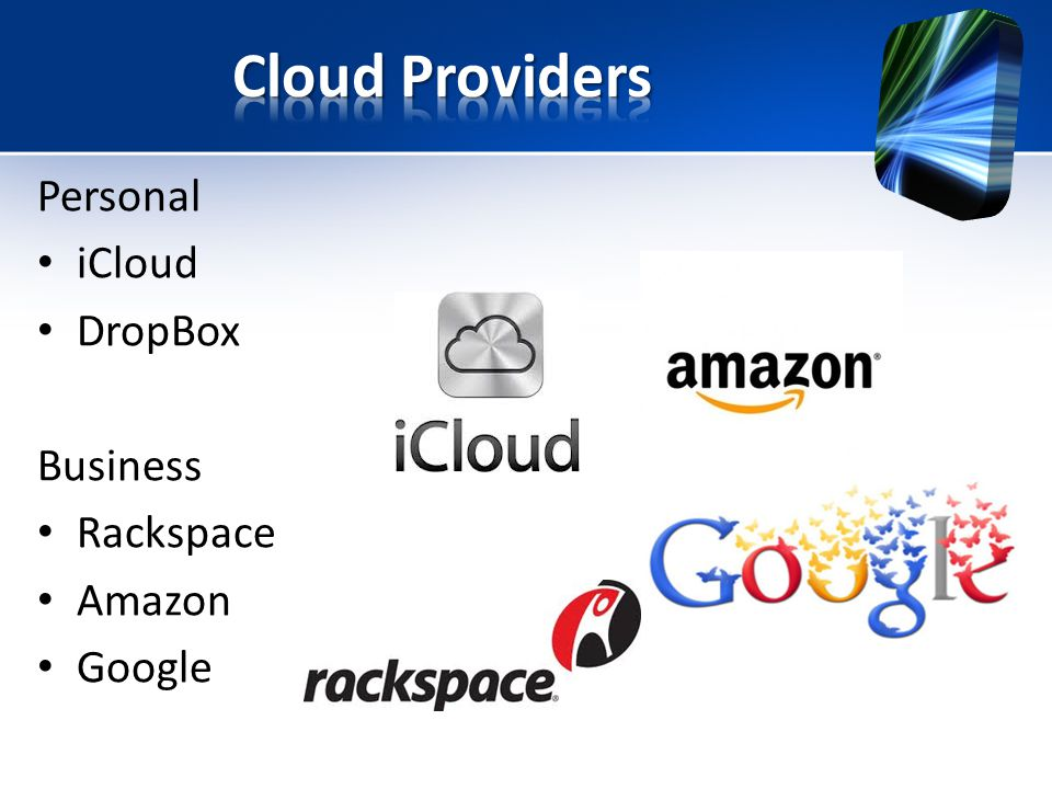 Personal iCloud DropBox Business Rackspace Amazon Google