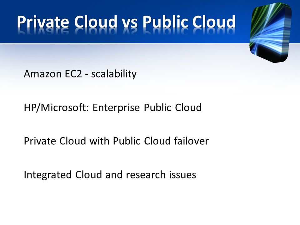 Amazon EC2 - scalability HP/Microsoft: Enterprise Public Cloud Private Cloud with Public Cloud failover Integrated Cloud and research issues
