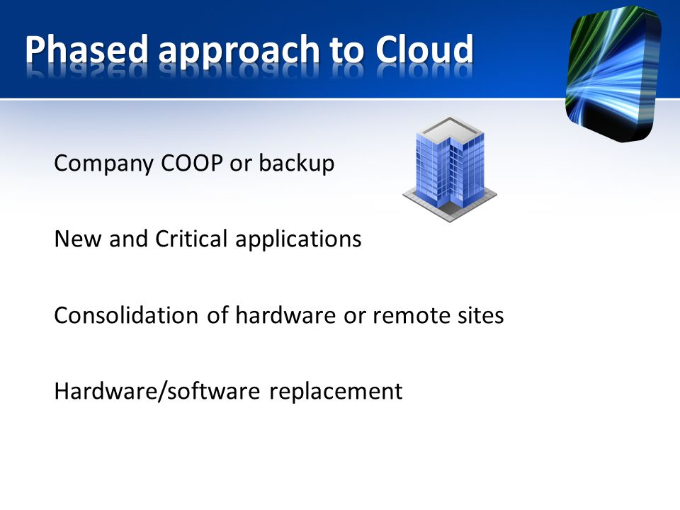 Company COOP or backup New and Critical applications Consolidation of hardware or remote sites Hardware/software replacement