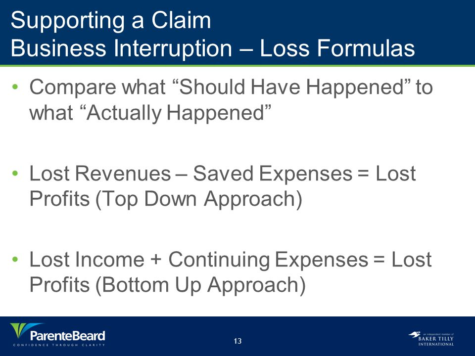 13 Supporting a Claim Business Interruption – Loss Formulas Compare what Should Have Happened to what Actually Happened Lost Revenues – Saved Expenses = Lost Profits (Top Down Approach) Lost Income + Continuing Expenses = Lost Profits (Bottom Up Approach)