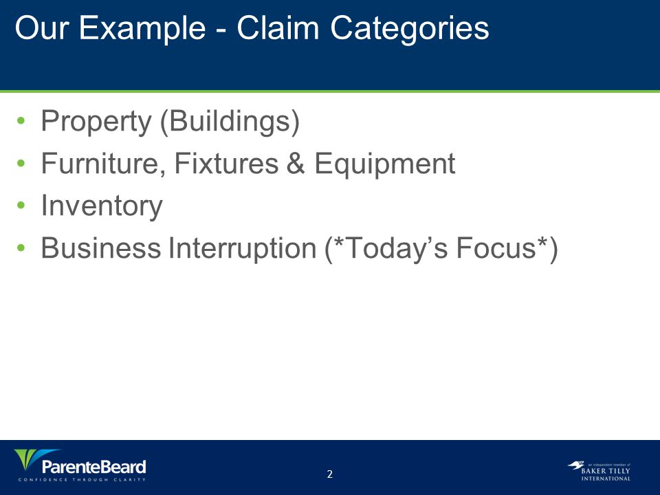 3 Preparing a Claim Business Interruption Claim Categories Lost Profits Ordinary Payroll Extra Expenses