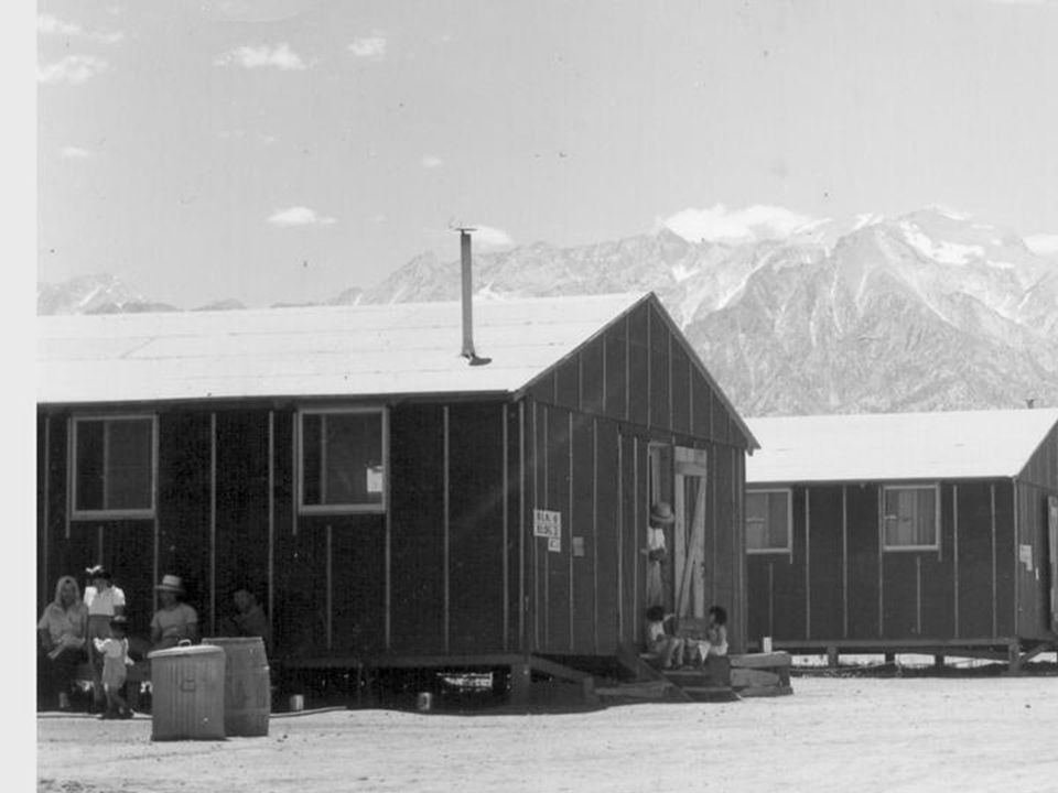 """Condition of the Internment Camps  The 1943 War Relocation Authority reported the internees were housed in """"tar paper-covered barracks of simple fram"""