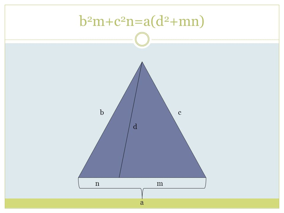 b 2 m+c 2 n=a(d 2 +mn) a bc d nm