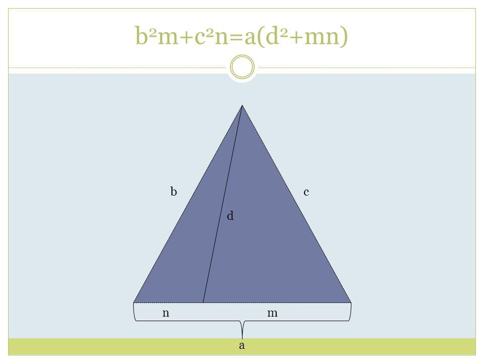 N=5 A B C D5 34 13 17 b 2 mc+ 2 n=a(d 2 +mn) 25 20 5 * A=25 B=34 C=13 D=17 M=20