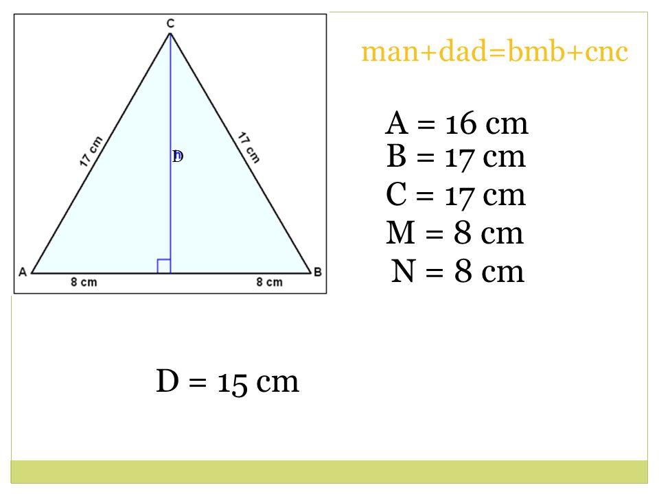 A = 16 cm N = 8 cm M = 8 cm D = 15 cm C = 17 cm B = 17 cm D