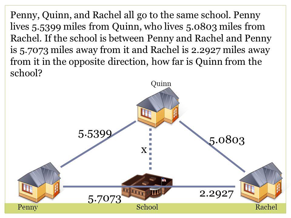 Quinn RachelSchoolPenny Penny, Quinn, and Rachel all go to the same school.