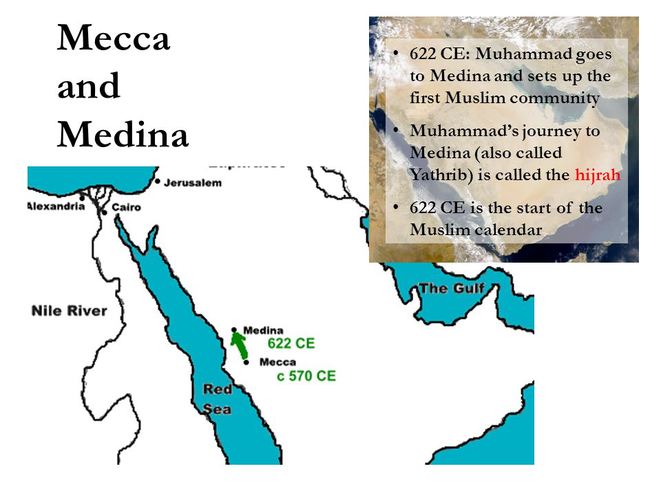 Mecca and Medina 622 CE: Muhammad goes to Medina and sets up the first Muslim community Muhammad's journey to Medina (also called Yathrib) is called t