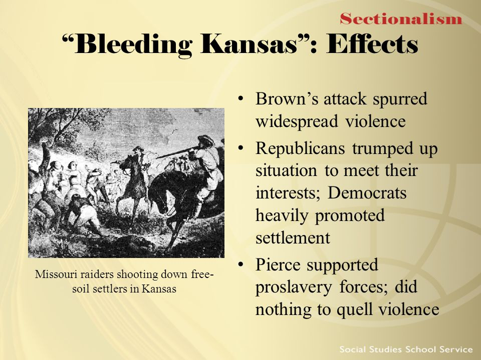 """""""Bleeding Kansas"""": Effects Brown's attack spurred widespread violence Republicans trumped up situation to meet their interests; Democrats heavily prom"""