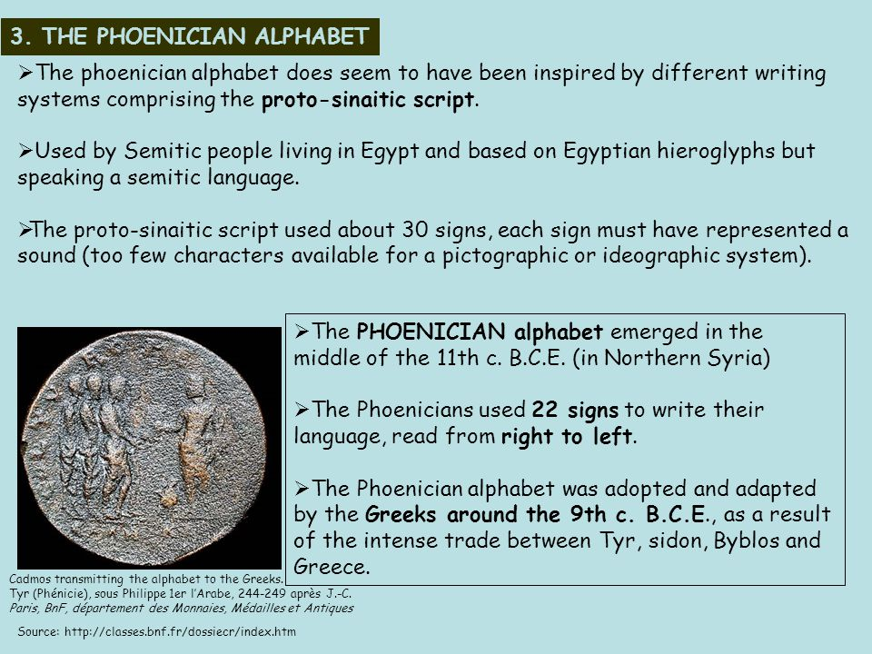 3.THE PHOENICIAN ALPHABET  The PHOENICIAN alphabet emerged in the middle of the 11th c.