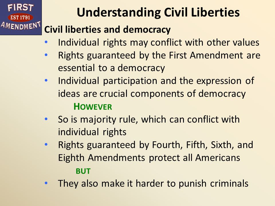 Understanding Civil Liberties American government: Democratic (because it is governed by officials elected by the people and answerable to them) and Constitutional (because it has a fundamental organic law, the Constitution, that limits the things government can do) Democratic and constitutional components of government can produce conflicts, but they also reinforce one another
