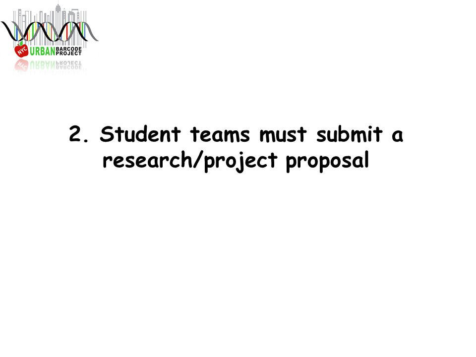 2. Student teams must submit a research/project proposal