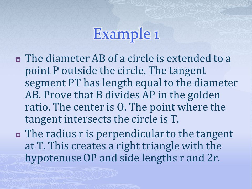  The diameter AB of a circle is extended to a point P outside the circle. The tangent segment PT has length equal to the diameter AB. Prove that B di