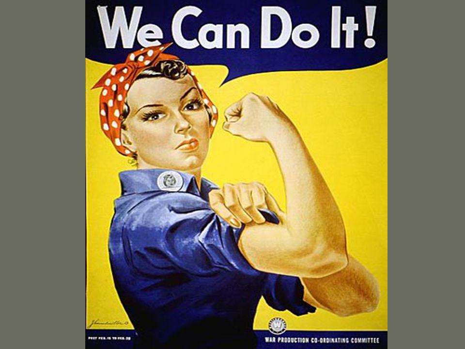 Changing roles of women Working women were a social stigma during the Great Depression (took jobs from men) Federal government urged women into war production Allowed men to serve in the military More than 1/3 of labor force Many women held nontraditional jobs breaking gender stereotypes Gov.