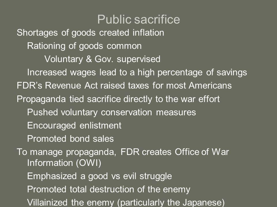 Economic recovery US becomes the world's largest manufacture of armaments 300,000 planes 2.6 million machine guns 6 million tons of bombs 91,000 cargo/war ships WWII will lead the US out of the Great Depression US government spends 250 million a day (320 billion) Keynesian economics 17 million jobs created Corporate profits up 70% Real industrial wages up 50% Closing gap between rich and poor Unprecedented prosperity for most Americans