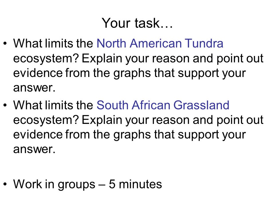 Your task… What limits the North American Tundra ecosystem? Explain your reason and point out evidence from the graphs that support your answer. What