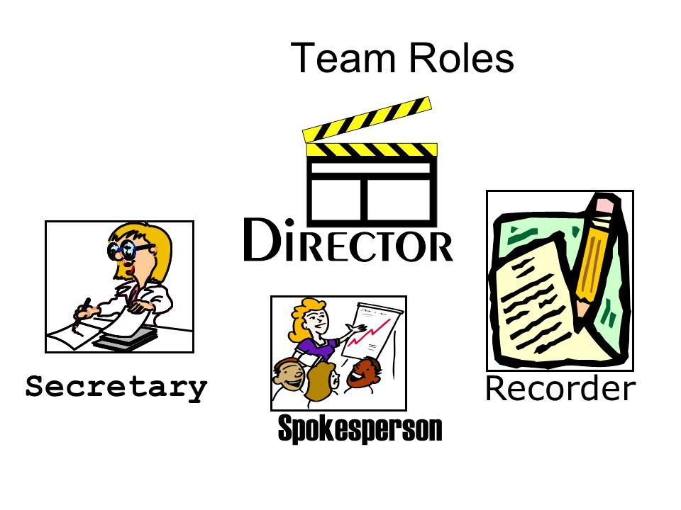 Team Roles Secretary Recorder Spokesperson