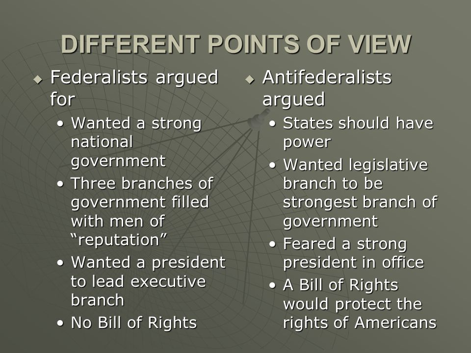 DIFFERENT POINTS OF VIEW  Federalists argued for Wanted a strong national governmentWanted a strong national government Three branches of government