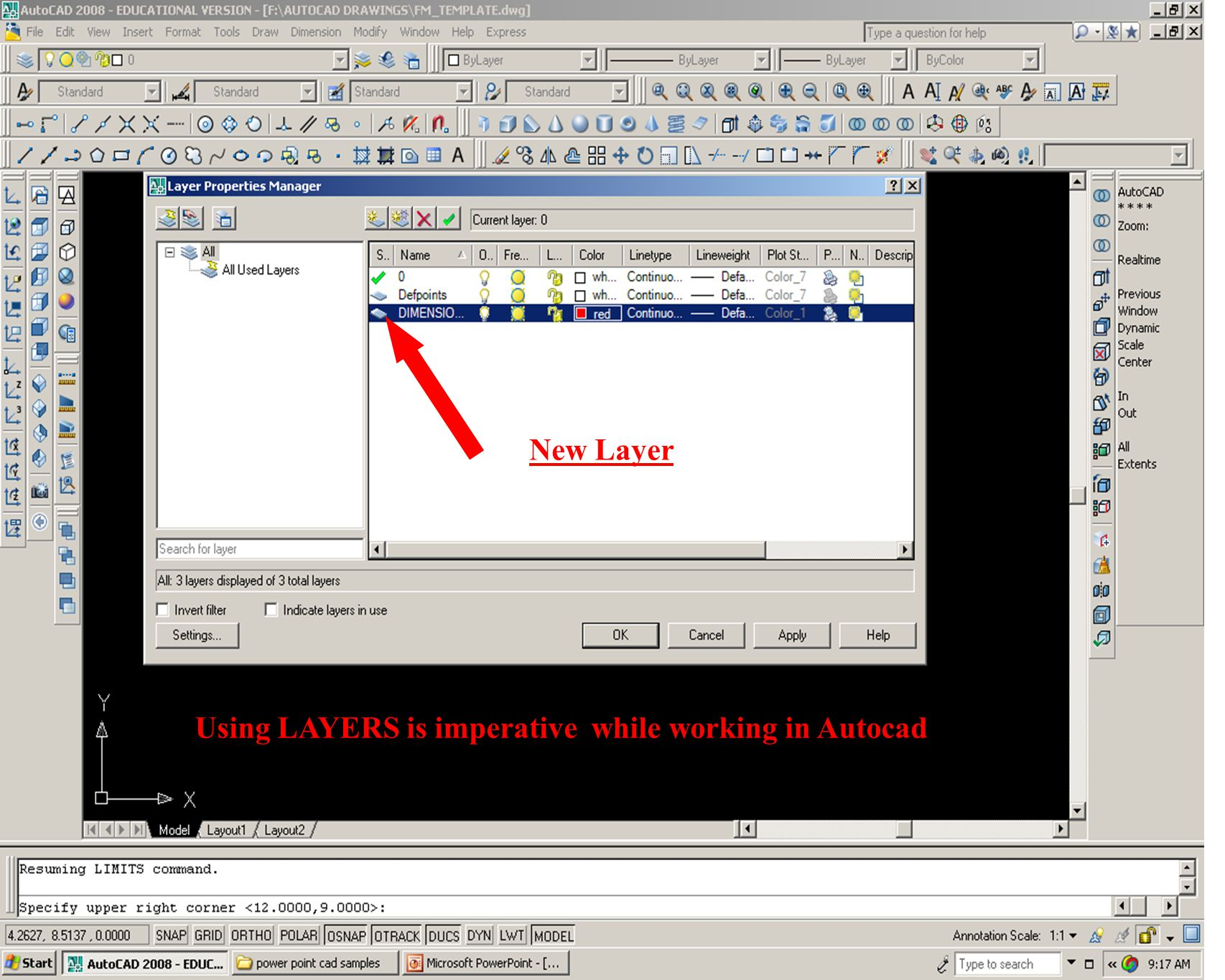 New Layer Using LAYERS is imperative while working in Autocad