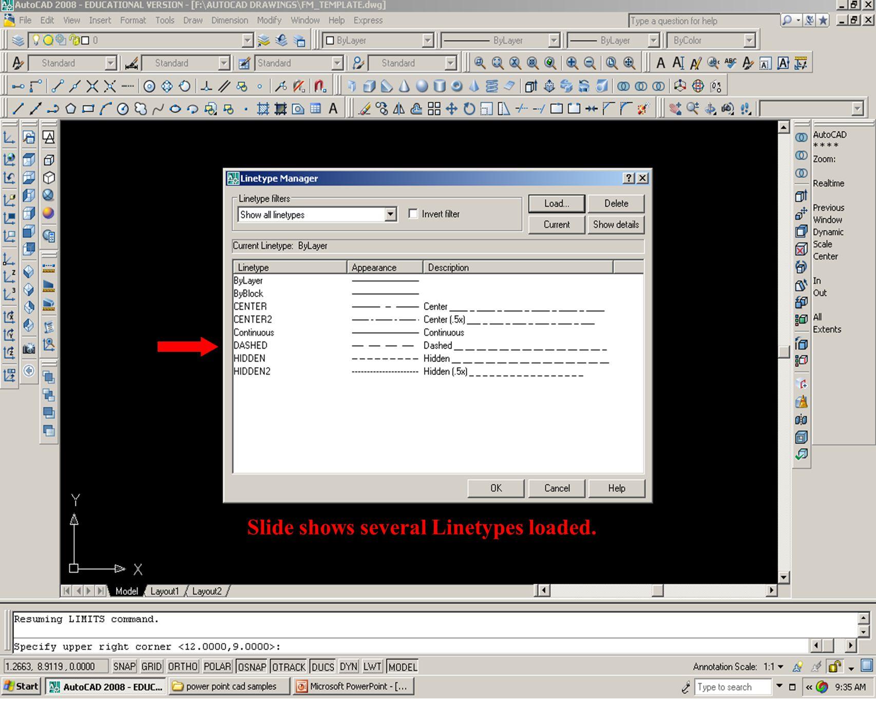 Slide shows several Linetypes loaded.