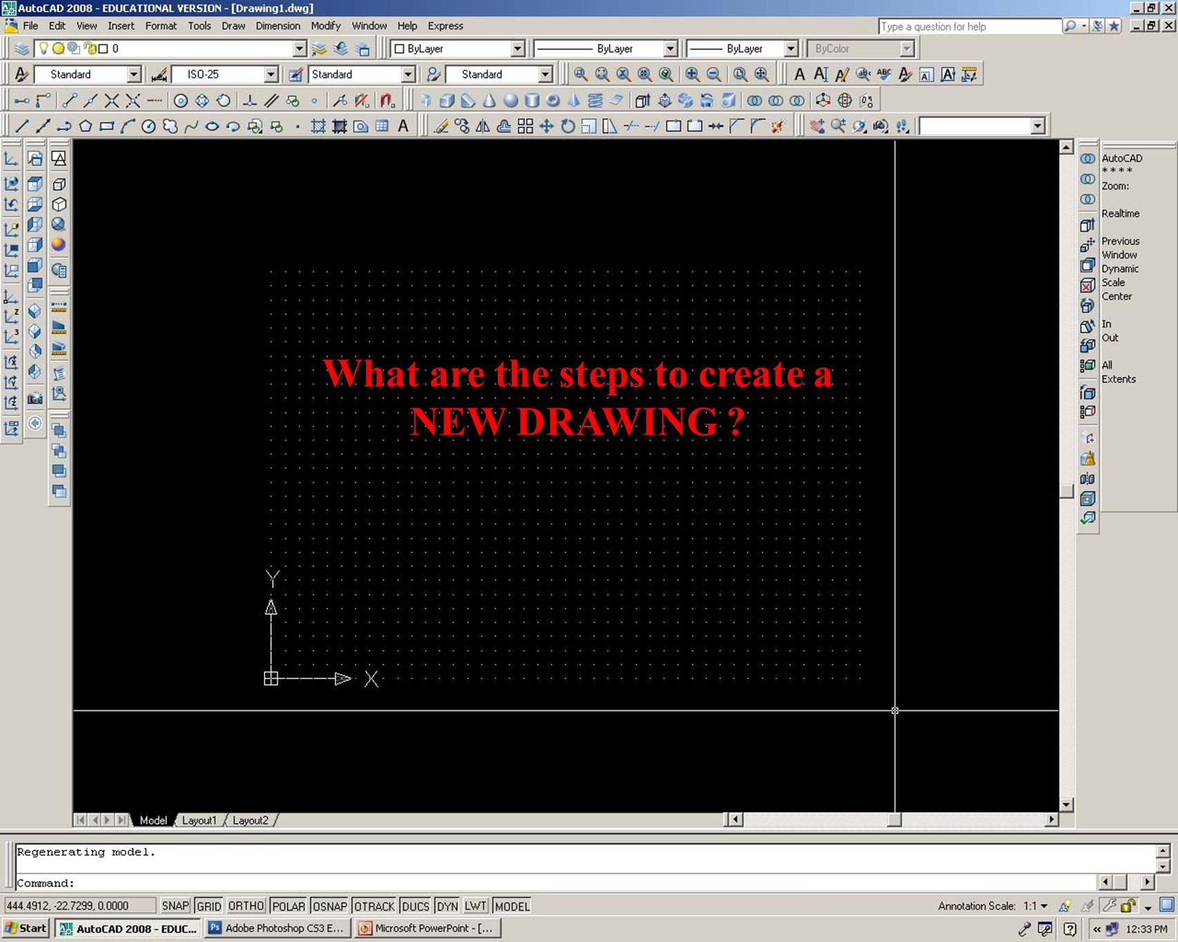 When Autocad is first opened a drawing is displayed called Drawing1.dwg This drawing contains pre-set settings which need to be changed.